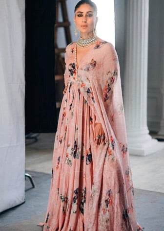 Sage Printed Anarkali Gown With Attached Dupatta by Kareena Kapoor wearing Mahima Mahajan-CELEBRITY CLOSET