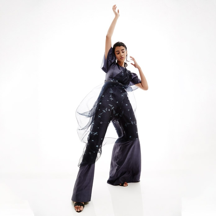 BLACK JUMPSUIT WITH EMBROIDERED PRINTED DRAPE-ARYA BY SVA