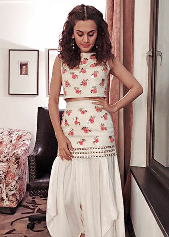 White Embroidered Crop Top with Skirt and Dhoti Pants by Papa Don't Preach by Shubhika-CELEBRITY CLOSET