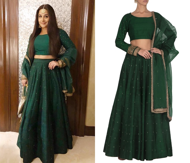 Dark Green Embroidered Lehenga Set by Mint Blush