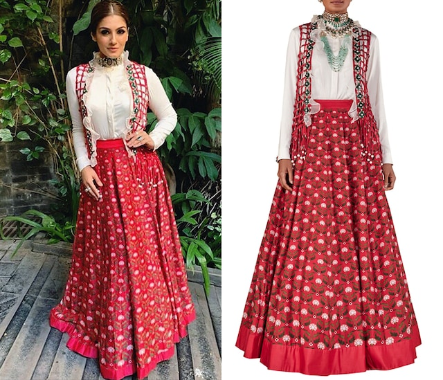 Deep Red Cage Jacket with Shirt and Skirt by Ridhi Mehra