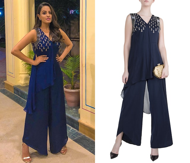 Navy Blue Embroidered Jumpsuit by Tisharth by Shivani
