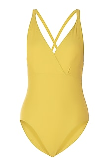 Yellow crossed back one piece