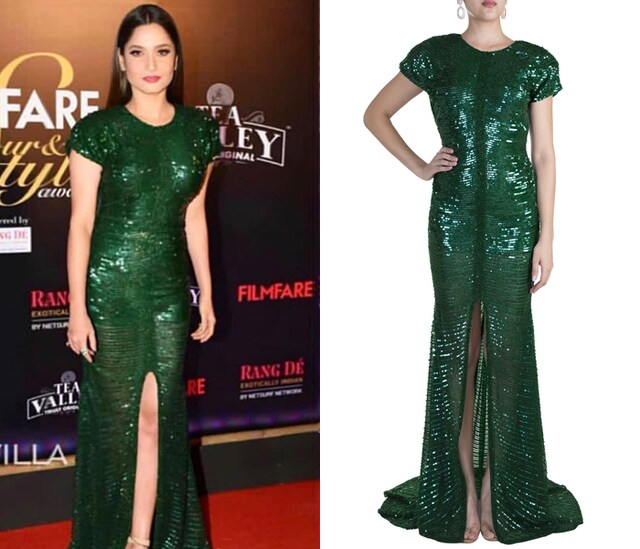 Deep Green Fishtail Embellished Gown by RS by Rippii Sethi