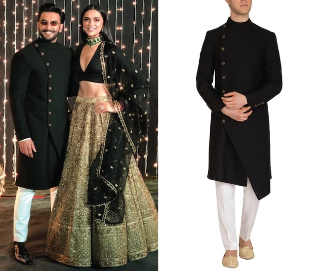 Black Contemporary Overlap Sherwani by Dhruv Vaish