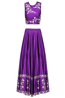 Purple Dori Floral Embroidered Lehenga Set
