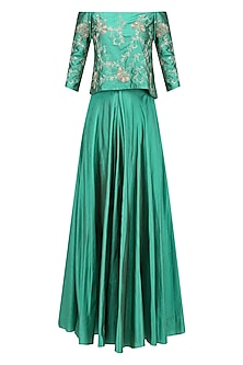 Jade Green Floral Embroidered Off Shoulder Top and Skirt Set