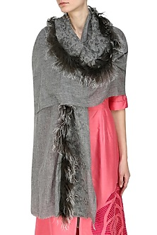 Grey cutwork and fur trim lambada shawl