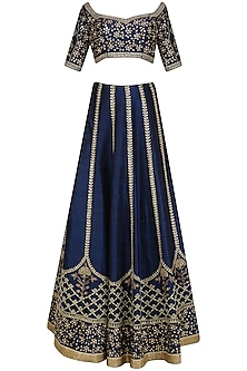 Blue and Gold Floral Embroidered Lehenga Set by Pooja Peshoria