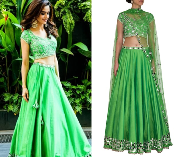 Green Embroidered Lehenga Set by Preeti S Kapoor