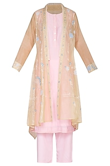 Blush Pink Embroidered Shrug Jacket With Tunic & Cropped Pants by 5X by Ajit Kumar