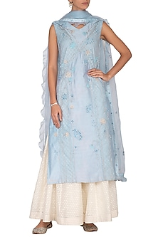 Sky Blue Embroidered Tunic With Skirt & Dupatta by 5X by Ajit Kumar