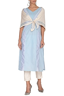 Sky Blue Embroidered Panelled Tunic Set by 5X by Ajit Kumar