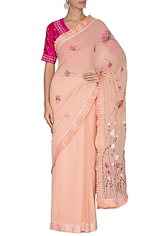 Peach Applique Saree Set by 5X by Ajit Kumar