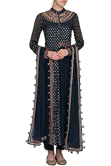 Dark Green Embroidered Asymmetrical Anarkali Set by 5X by Ajit Kumar