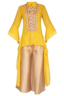 Yellow Embroidered Top With Flared Pants