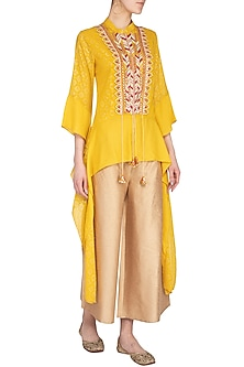 Yellow Embroidered Top With Flared Pants by 5X by Ajit Kumar
