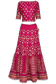 Pink Embroidered Chanderi Lehenga Set by 5X by Ajit Kumar