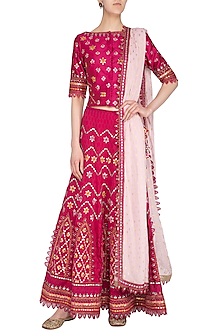 Pink Embroidered Chanderi Lehenga Set by 5X by Ajit Kumar
