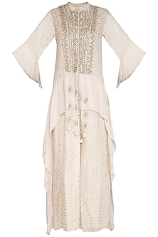 White Embroidered Kurta With Flared Pants