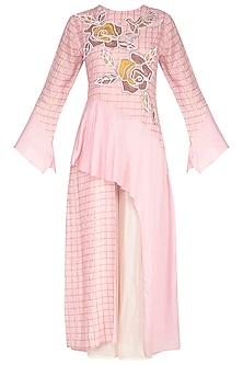 Blush Pink Embroidered Kurta With Flared Pants