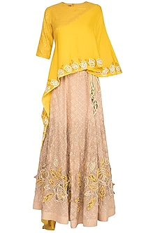 Yellow Embroidered Cape Top With Lehenga Skirt by 5X by Ajit Kumar