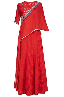 Red Embroidered Cape Top With Lehenga Skirt by 5X by Ajit Kumar
