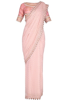 Blush Pink Embroidered Saree Set