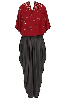 Red Asymmetric Embroidered Cape Top with Black Dhoti Pants by 5X by Ajit Kumar