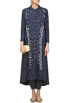 Blue Embroidered Jacket Kurta by 5X by Ajit Kumar