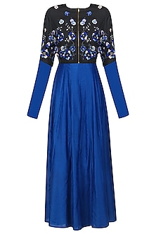 Blue Paneled Dress with Black Embroidered Jacket