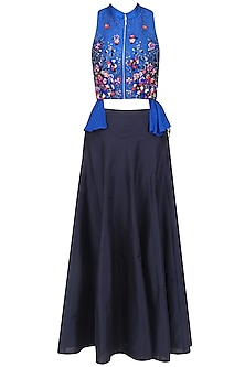Blue Embroidered Wrap Top and Black Skirt