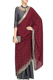 Grey Anarkali with Maroon Drape/Saree by 5X by Ajit Kumar