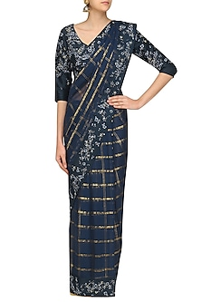 Blue Checkered Saree with Embroidered Blouse by 5X by Ajit Kumar