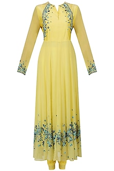 Yellow Scattered Floral Embroidered Anarkali Set
