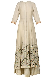 Beige and Green Shaded Scattered Floral Work Anarkali, Crop Top and Skirt Set by 5X by Ajit Kumar