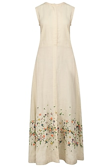 Ecru Scattered Floral Embroidered Maxi Dress