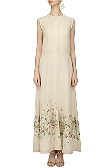 Ecru Scattered Floral Embroidered Maxi Dress by 5X by Ajit Kumar