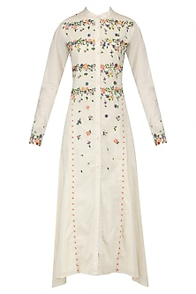 Off White Scattered Floral Embroidered Shirt Dress