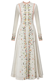 White Scattered Floral Embroidered Anarkali and Skirt Set