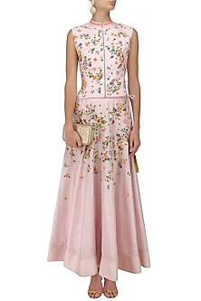 Soft Pink Floral Embroidered Jacket and Skirt Set by 5X by Ajit Kumar
