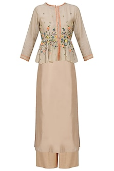 Beige Floral Embroidered Peplum Jacket, Tunic and Pants Set