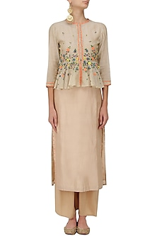 Beige Floral Embroidered Peplum Jacket, Tunic and Pants Set by 5X by Ajit Kumar