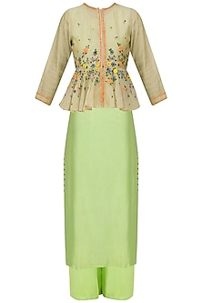 Green Floral Embroidered Peplum Jacket, Tunic and Pants Set