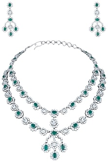 Silver plated green emerald royal necklace set by 7TH AVENUE