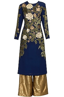 Navy blue and moss green sequins floral applique kurta and palazzos set