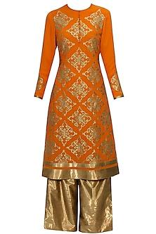 Apricot orange and gold handcut applique work kurta and palazzos set