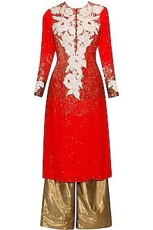 Cherry red and white marigold applique work kurta and palazzos set