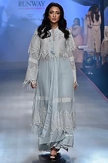 Pale Blue Beaded Lace Jacket WIth Lehenga Skirt by RINA DHAKA