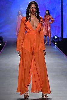Orange Chiffon Flared Jumpsuit by Deme by Gabriella